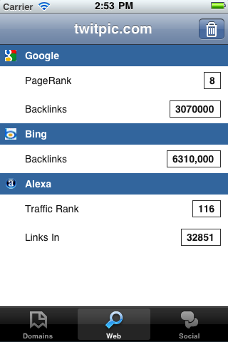 iPhone SEO App - Web SEO Stats