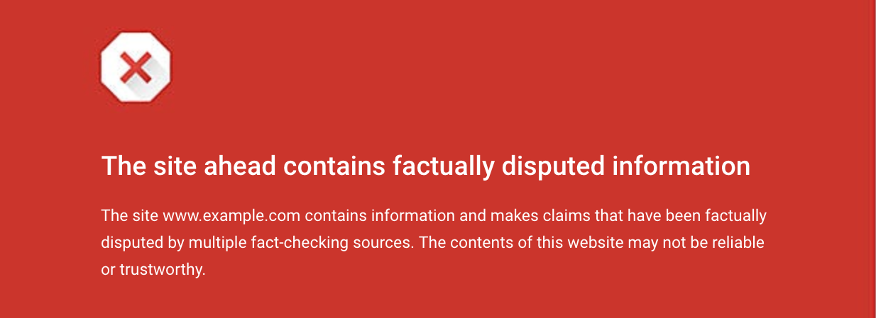 Google Chrome Fact-Check Warning
